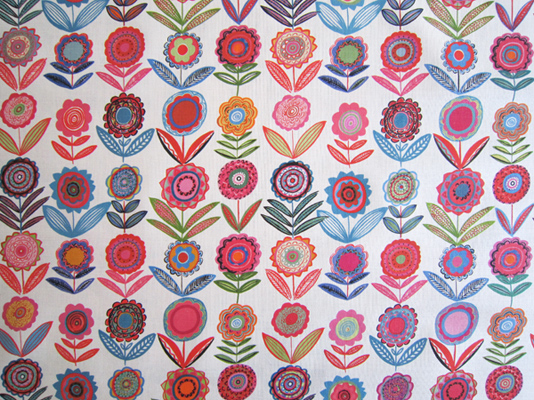 Cut Flowers BL White 68cms-Medium-Bright Fabric for Curtains and Blinds